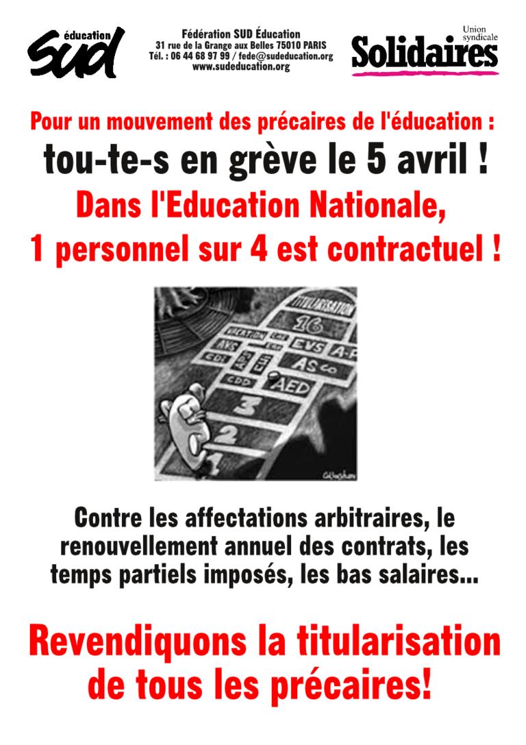 Grève des précaires de l'éducation le 5 avril 2018