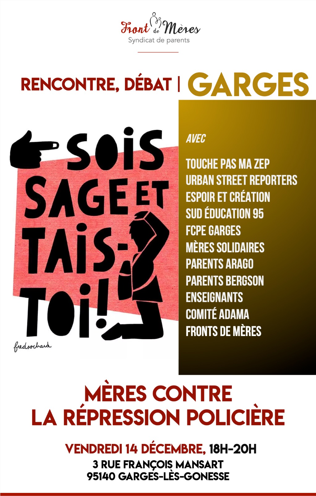 Violences policières: rencontre vendredi 14/12 avec le Front de mères à Garges-lès-Gonesse