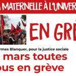 De la maternelle à l'Université, toutes et tous en grève le 19 mars !
