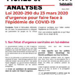 Analyse de la Loi 2020-290 du 23 mars 2020 d'urgence pour faire face à l'épidémie de COVID-19