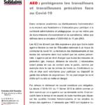 AED : protégeons les travailleurs et travailleuses précaires face au Covid-19